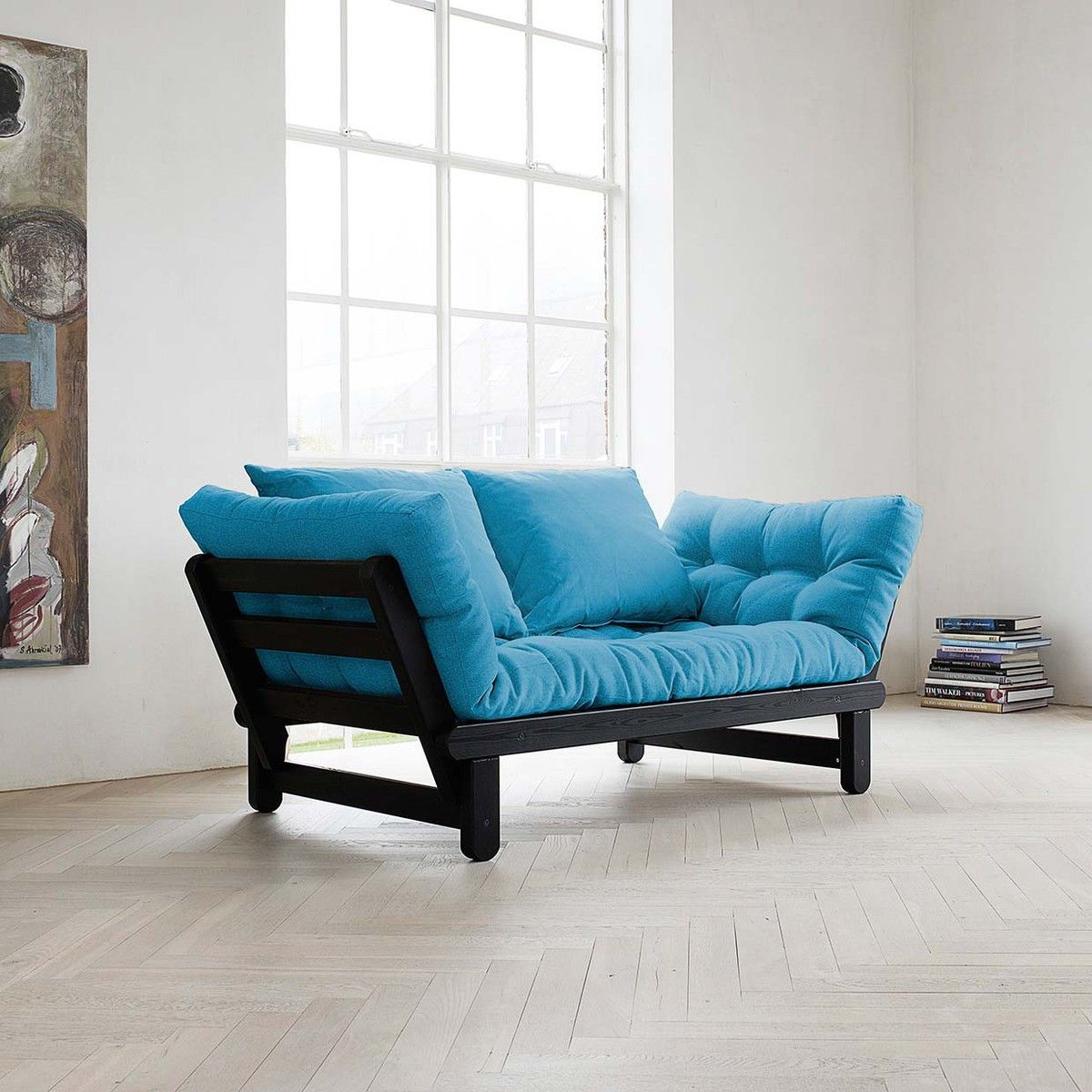 (15) Beat Horizon Blue Black Futon sofa, Futon