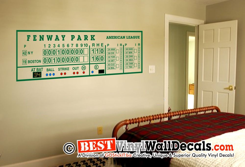 Fenway Park Scoreboard Man Cave Wall Decal Art 2 | Kids bedroom ...