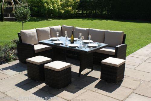 Milton Rattan Garden Furniture Brown Corner Group Dining Table ...