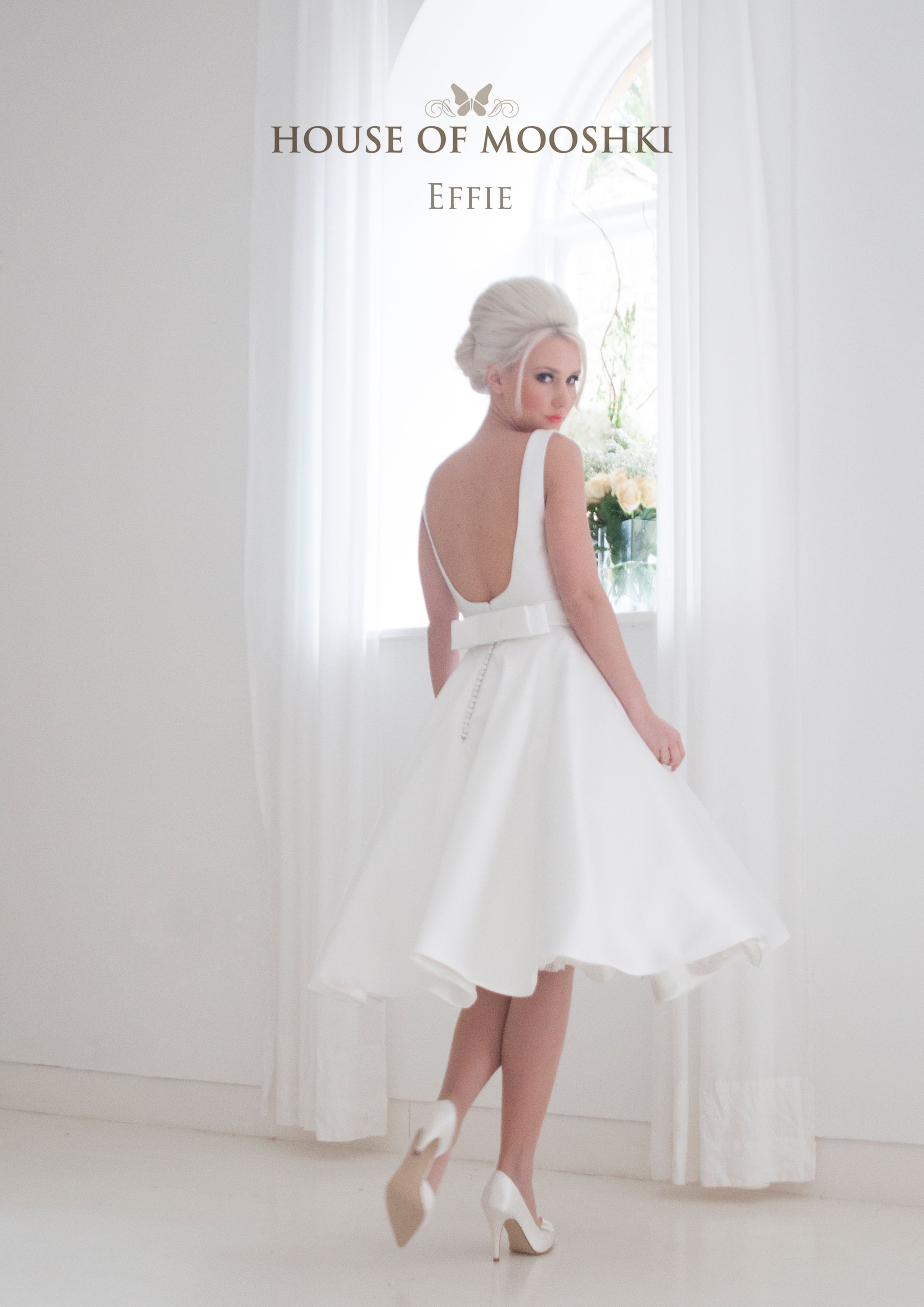 Short vintage tea length wedding dress with scoop back and pockets