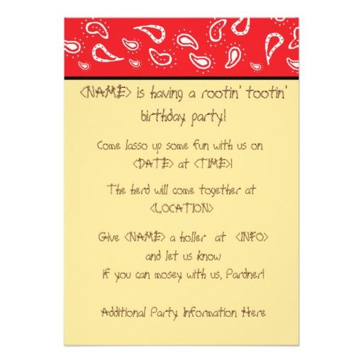 Red Paisley Kids Cowboy Birthday Party Invitations