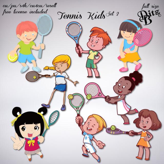 Tennis Kids Set 2 Kids Set Kids Tennis Clip Art
