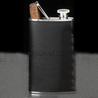 Stainless Steel Flask with Cigar Holder, Black Leather, 4 oz. by PhotoFramesPlus, http://www.amazon.com/dp/B000VRV6D2/ref=cm_sw_r_pi_dp_ptgJrb092Y0SK