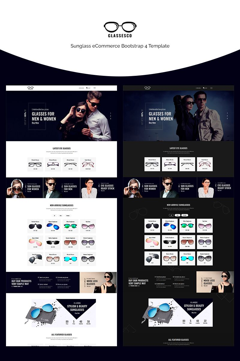 Glassesco - Glasses eCommerce Bootstrap4 Website Template #71147