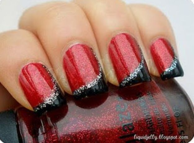 Sparkly Red Black And Silver Christmas Nails In 2018