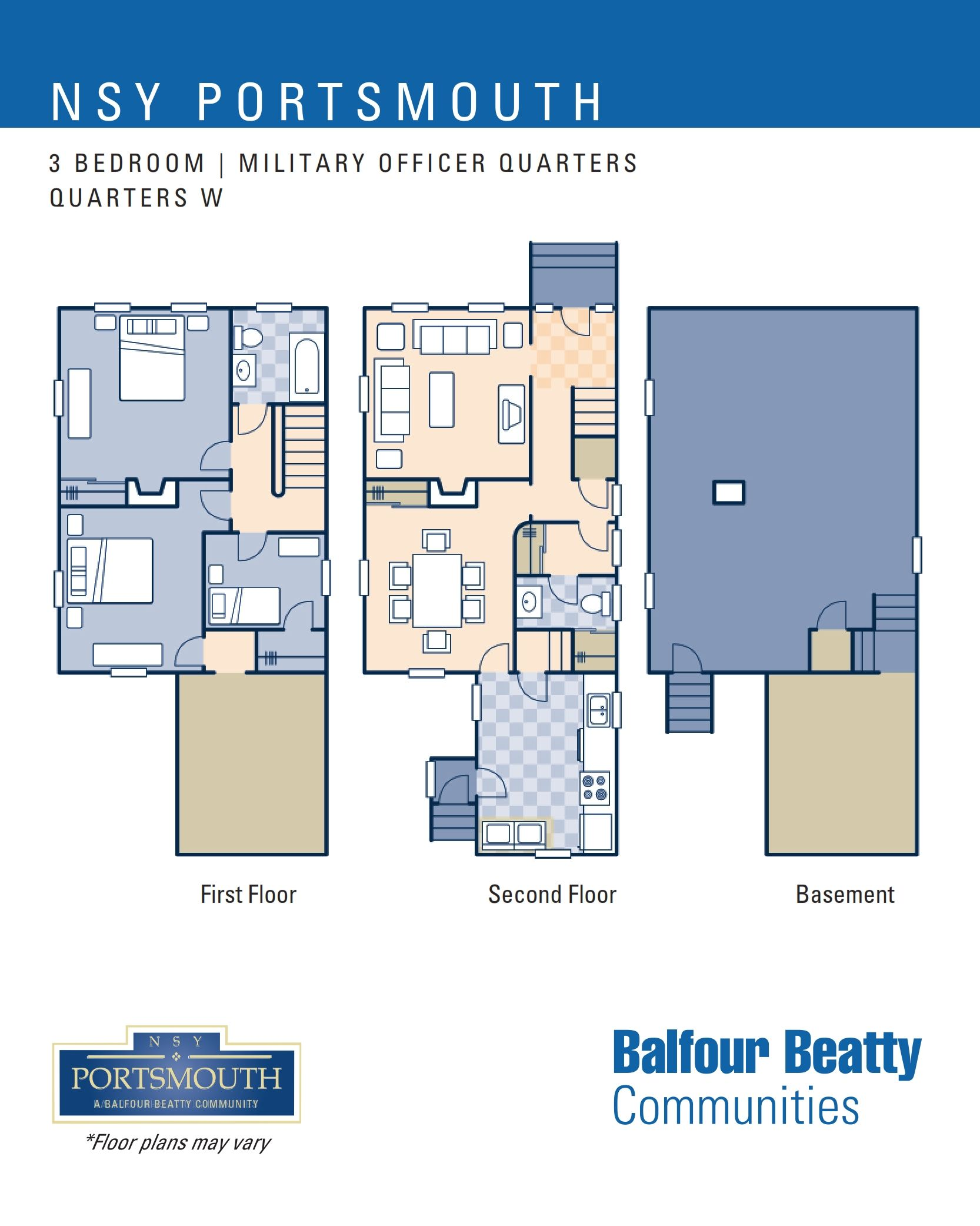 NSY Portsmouth – Military ficers Housing 3 bedroom floor plan