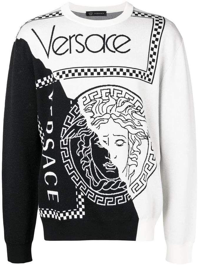 Two tone sweater | Versace sweater, Sweaters, Versace