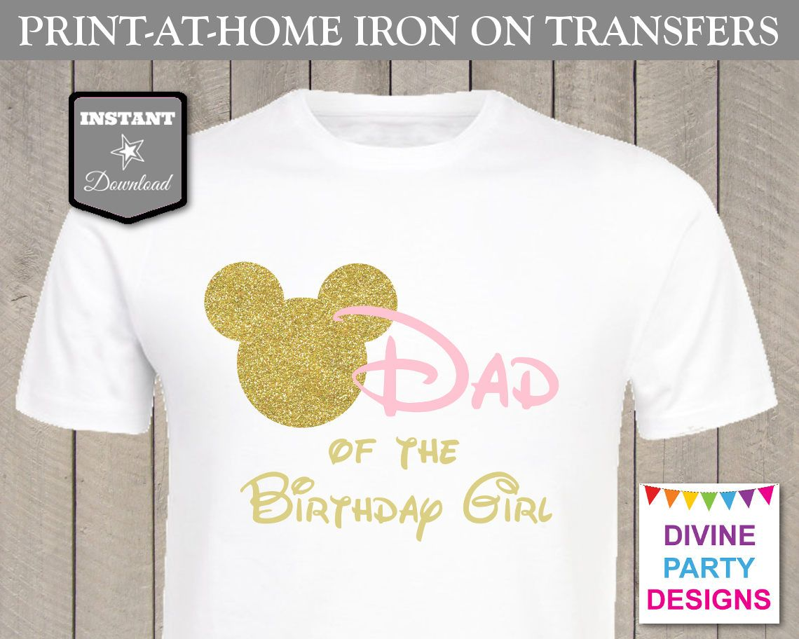 0caa803e4 Pink and Gold Glitter Minnie Mouse Birthday Party Ideas: Make your own family  shirts with printable iron on transfers. Great for birthday party or Disney  ...