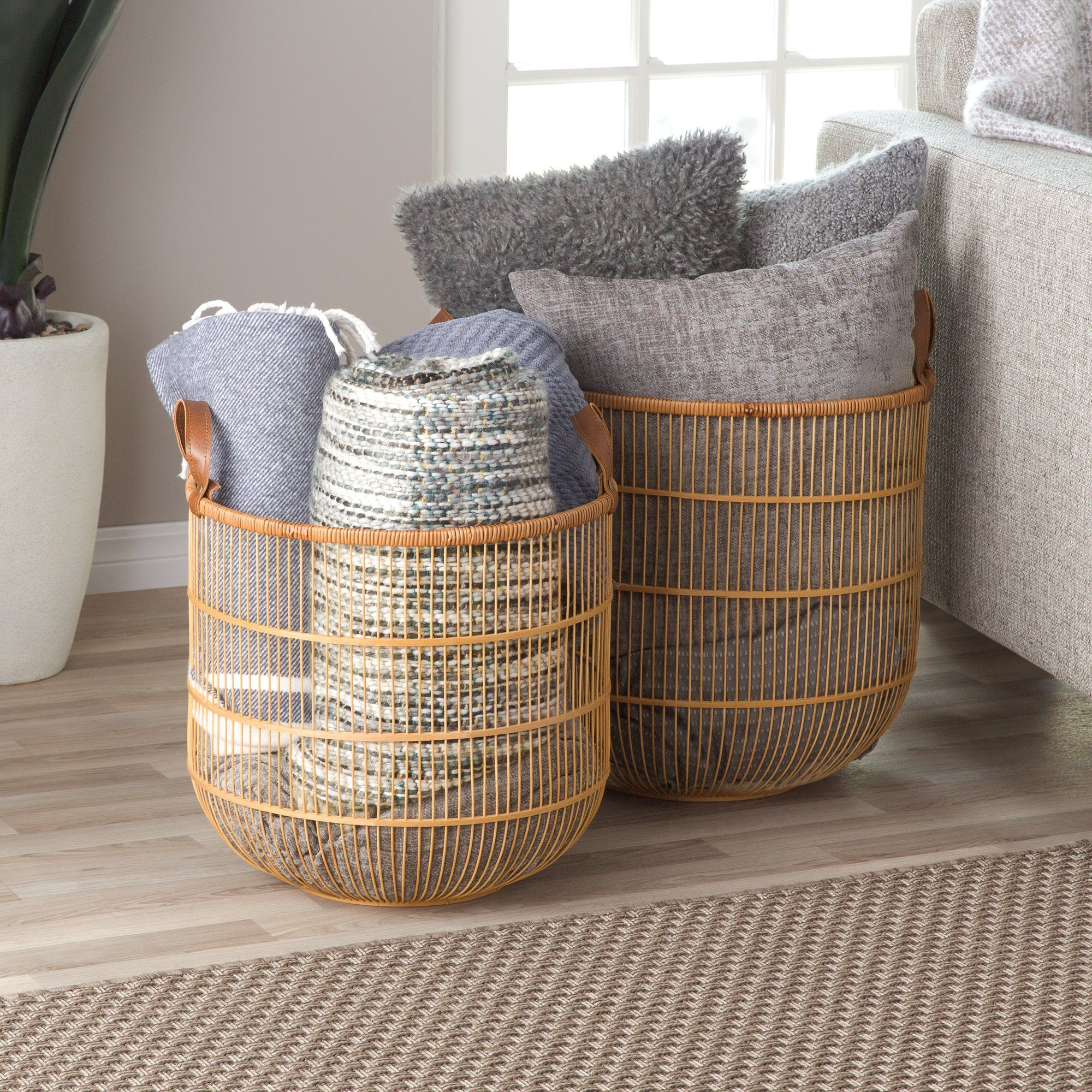 bamboo basket blanket storage basket