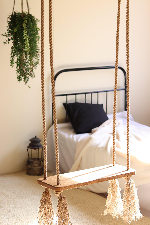 Oak Wood And Jute Rope Swing Etsy Bedroom Swing Room Swing