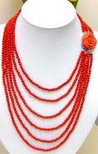 Luxo 6 fios 4 - 5 MM genuíno vermelho Coral colar com vermelho CLASP-5211(China (Mainland))