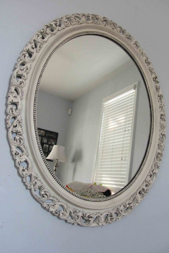 Vintage Heirloom White Ornate Large Round Mirror Black Antique Glaze Hollywood Regency Shabby Wall Mirror Mirror Wall Large Round Mirror Round Mirrors