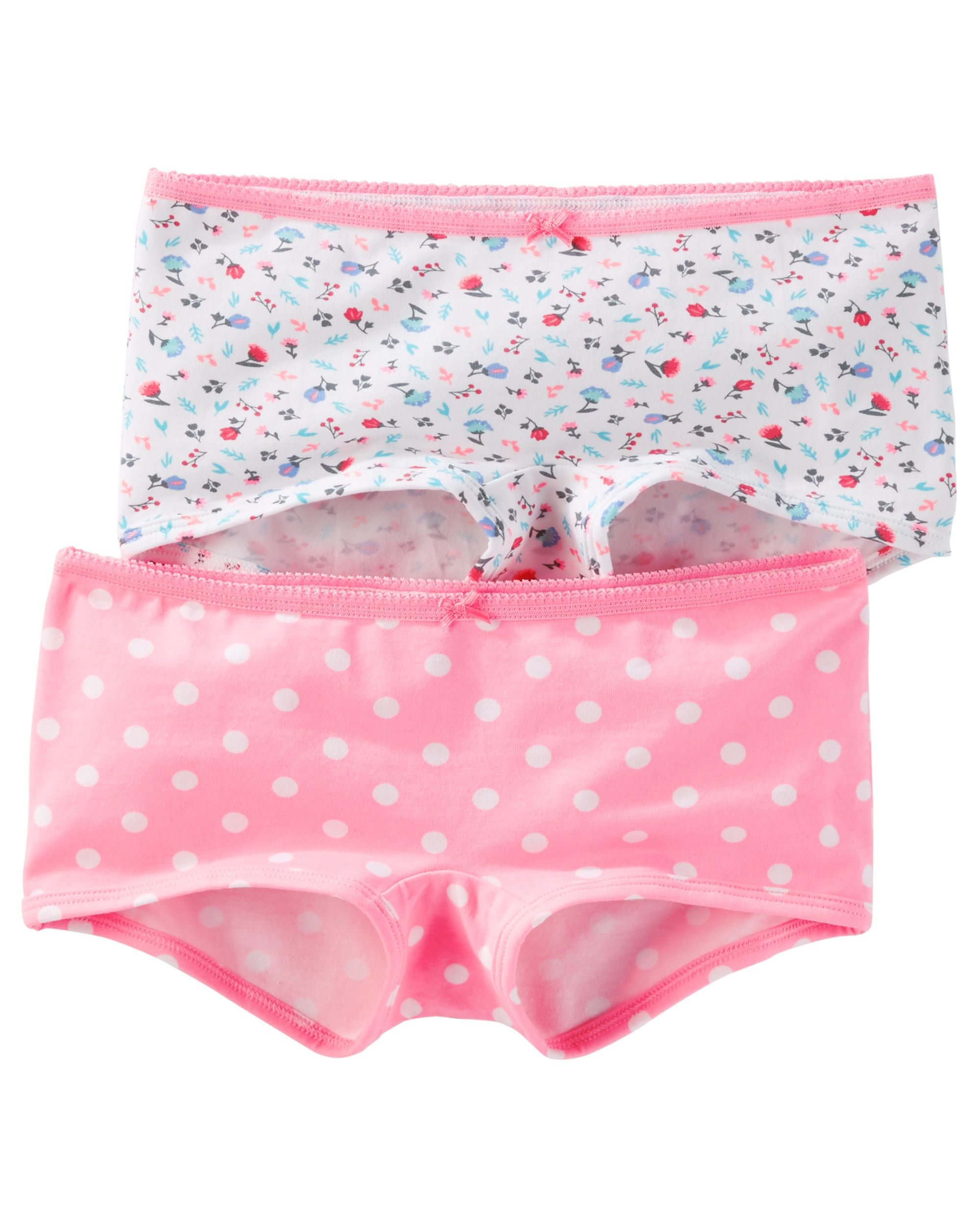 ae8530db24 Toddler Girl 2-Pack Stretch Cotton Boyshort Panties