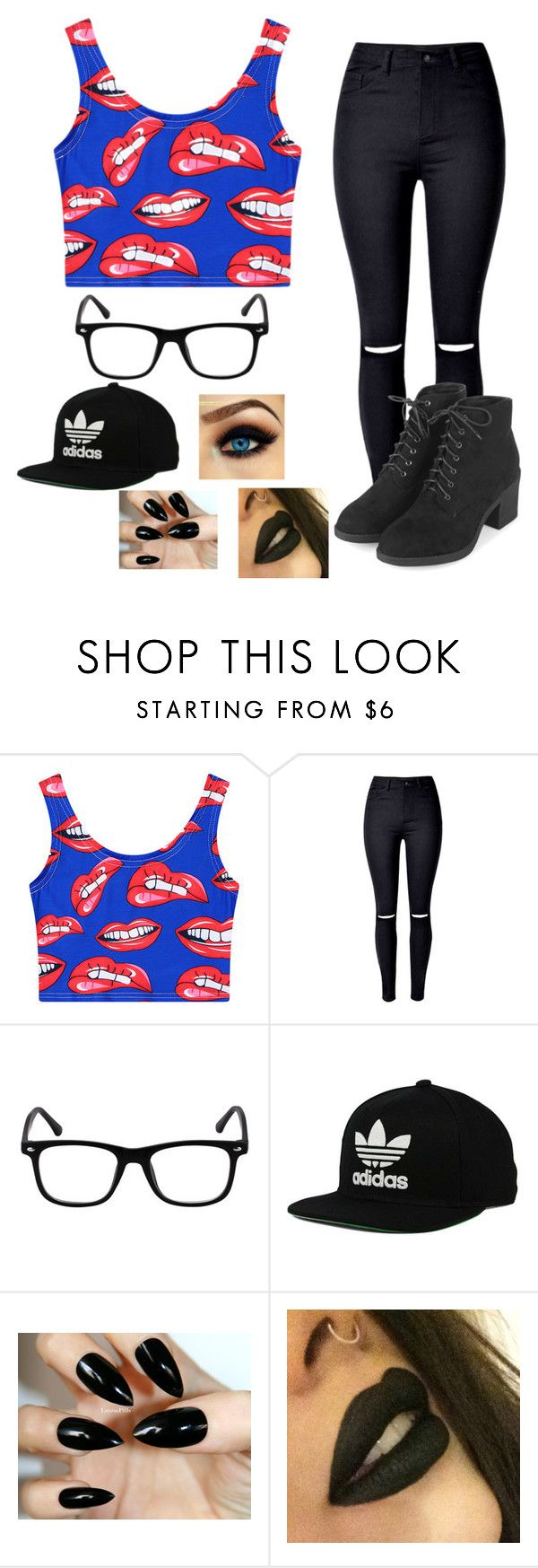 """""""Untitled #114"""" by killerbarbiexoxo-123 on Polyvore featuring Chicnova Fashion, WithChic, adidas Originals and Topshop"""