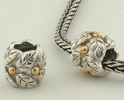 CLFS049 925 Sterling Silver Golden Leaves Pandora Charms beads Pandora Leaves