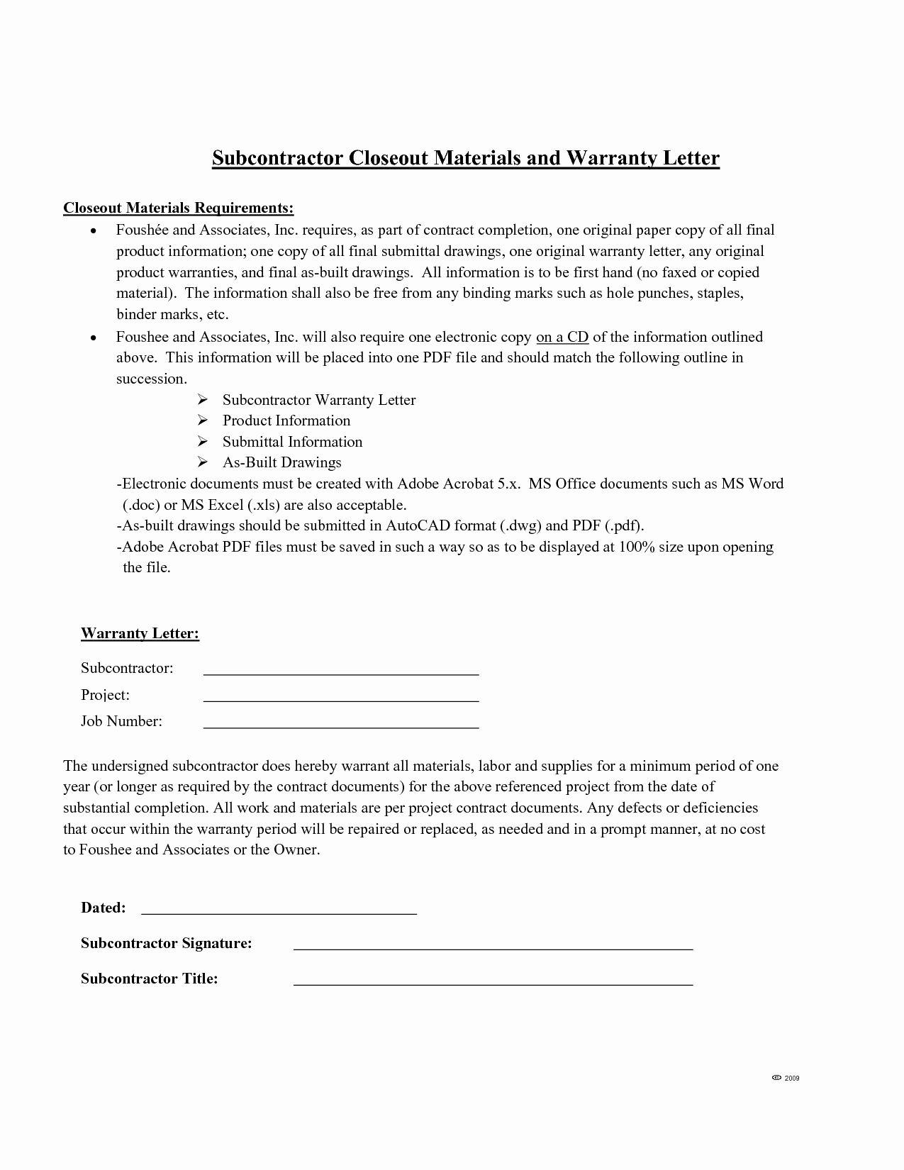 Warranty Letter General Contractor Awesome Letter Warranty