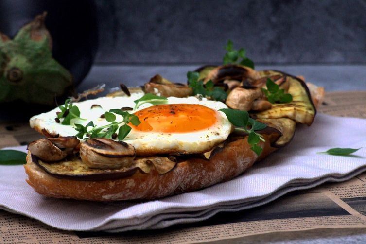 Photo of Aubergine, mushrooms and egg bruschetta Recipe on Food52
