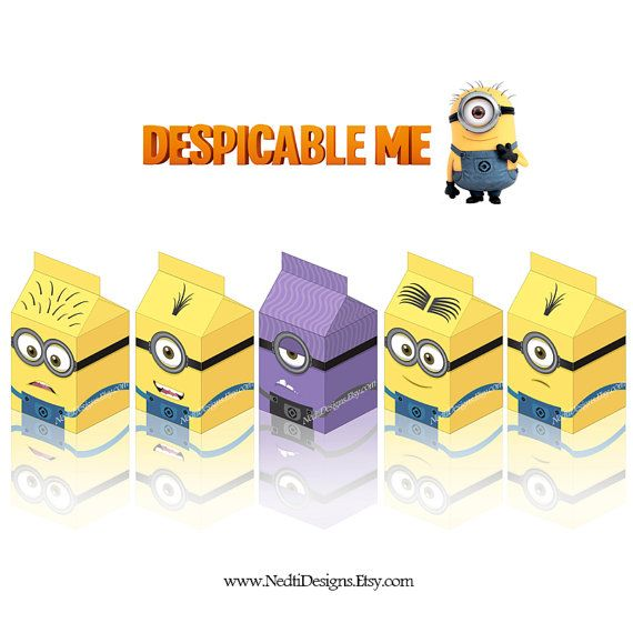 a4 paper despicable me printable milk box template diy party gift box paper favor box minion party supplies instant download jpeg