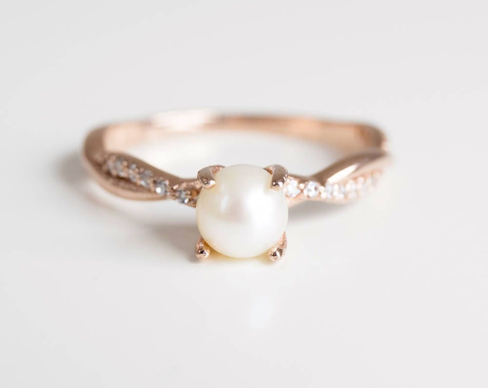 Pearl Engagement Ring Rose Gold Engagement Ring Unique