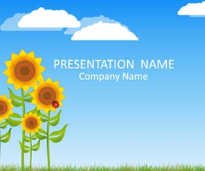 Cute Powerpoint Template With An Illustration Of Sunflowers And A