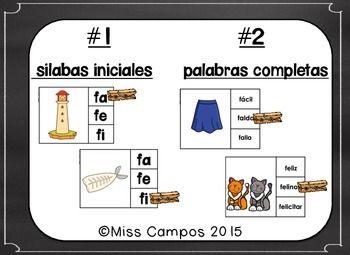 Letra F Rompecabezas Fa Fe Fi Fo Fu Spanish Alphabet Letters