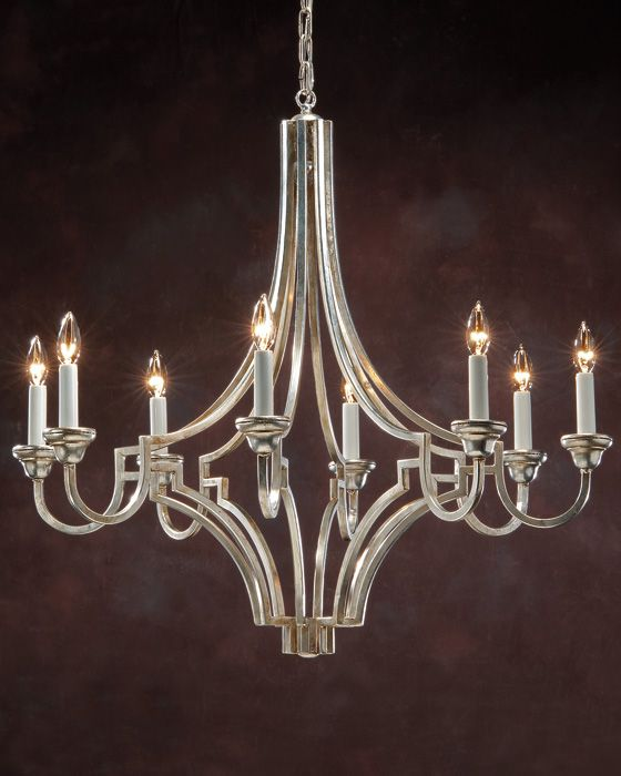 Wrought Iron Chandelier In Silver Leaf Hand Wrought Iron