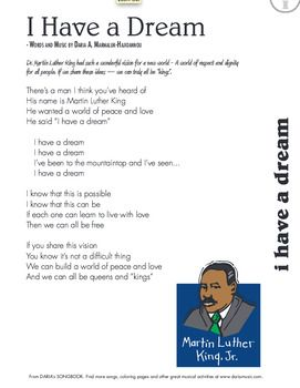 Song For Mlk Day I Have A Dream I Have A Dream Classroom Songs Free Lyrics