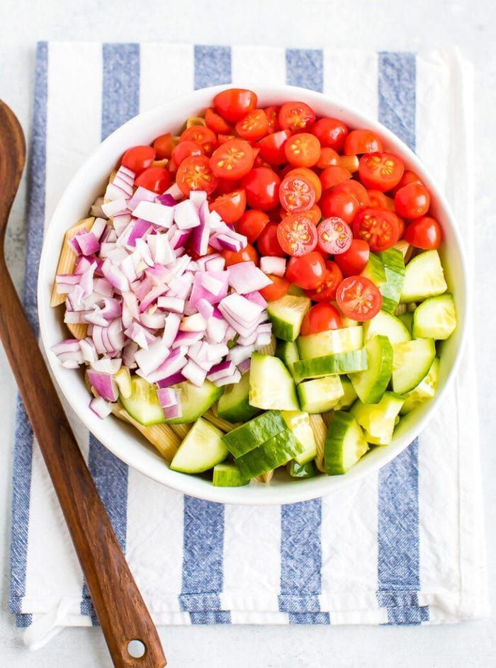 Clean eating pasta salad made with cucumbers, tomatoes and a basil balsamic dressing. This delicious pasta salad is gluten-free, vegan and perfect for serving a crowd! eating pasta salad made with cucumbers, tomatoes and a basil balsamic dressing. This delicious pasta salad is gluten-free, vegan and perfect for serving a crowd!