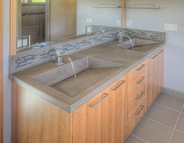 Concrete Double Ramp Sink Vanity Design Ideas, Pictures, Remodel, And Decor