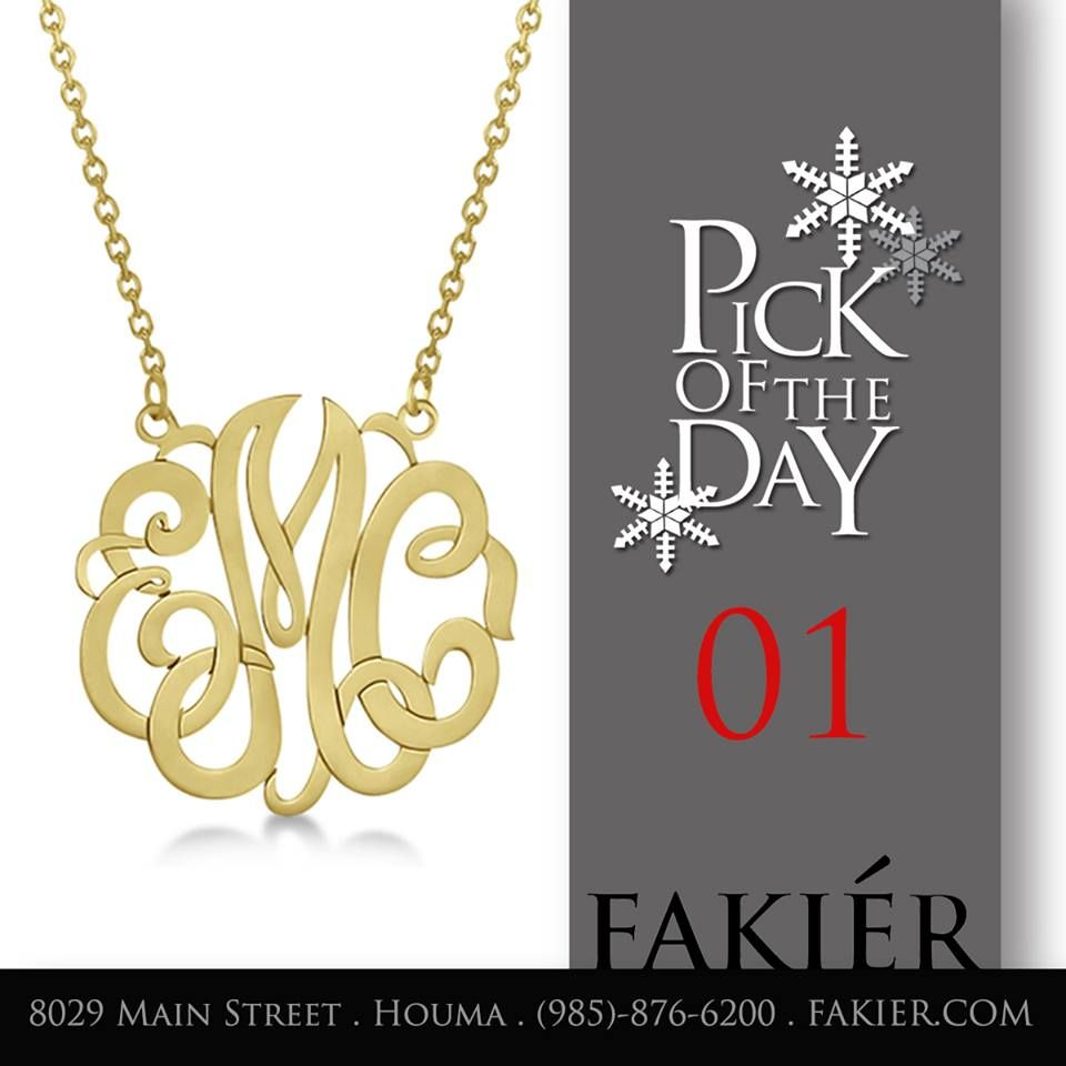 Monogram pendants are going to be a hit again this year! Sterling silver, yellow and rose gold plated pendants start from $160.00 - $195.00. Deadline to order is December 4. For solid gold pendants call for pricing (985)-876-6200.