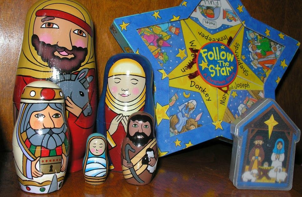 nesting dolls, books, and playing cards