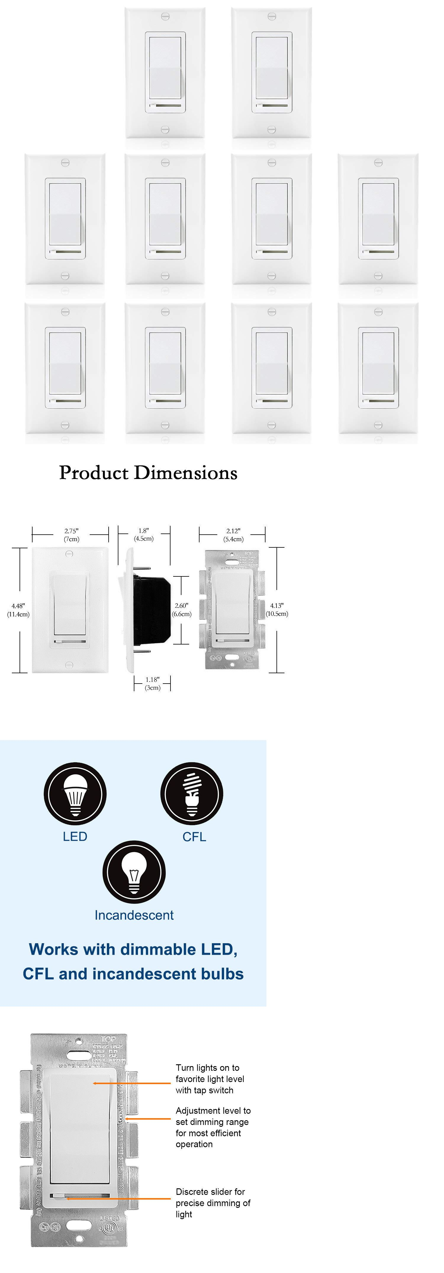 Dimmers 41984 10 Pack 150w Led And Cfl 600w Incandescent Wall Light Switch Slide Dimmer Switch Buy It Now Only 11 Dimmer Switch Dimmable Led Light Switch