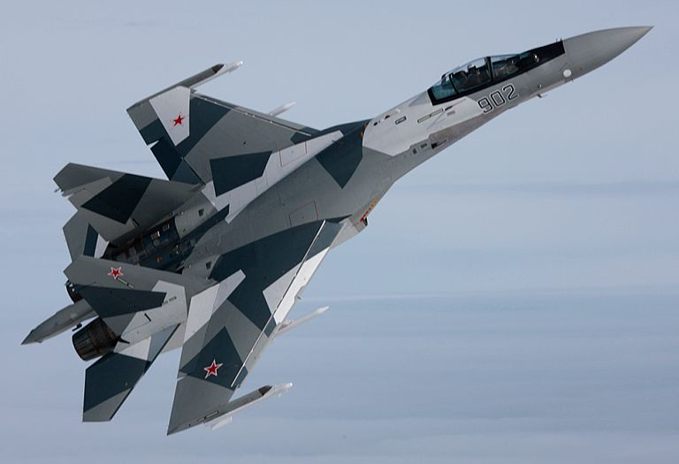 "The new Su-35S is labelled a ""4++ Generation""  derivative of the baseline Su-27S Flanker B. It is a comprehensive  redesign of the aircraft's systems, and employs a supercruise capable 117S variant engine. Depicted the second prototype during flight test."
