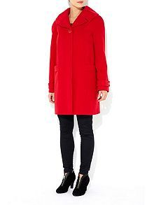 Red Pleat Collar Swing Coat