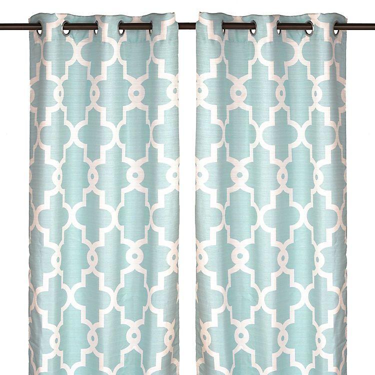 Aqua Maxwell Curtain Panel Set 96 In