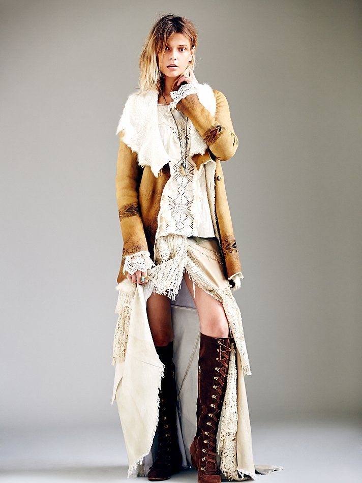 Hand Painted Suede Coat and lace up boots