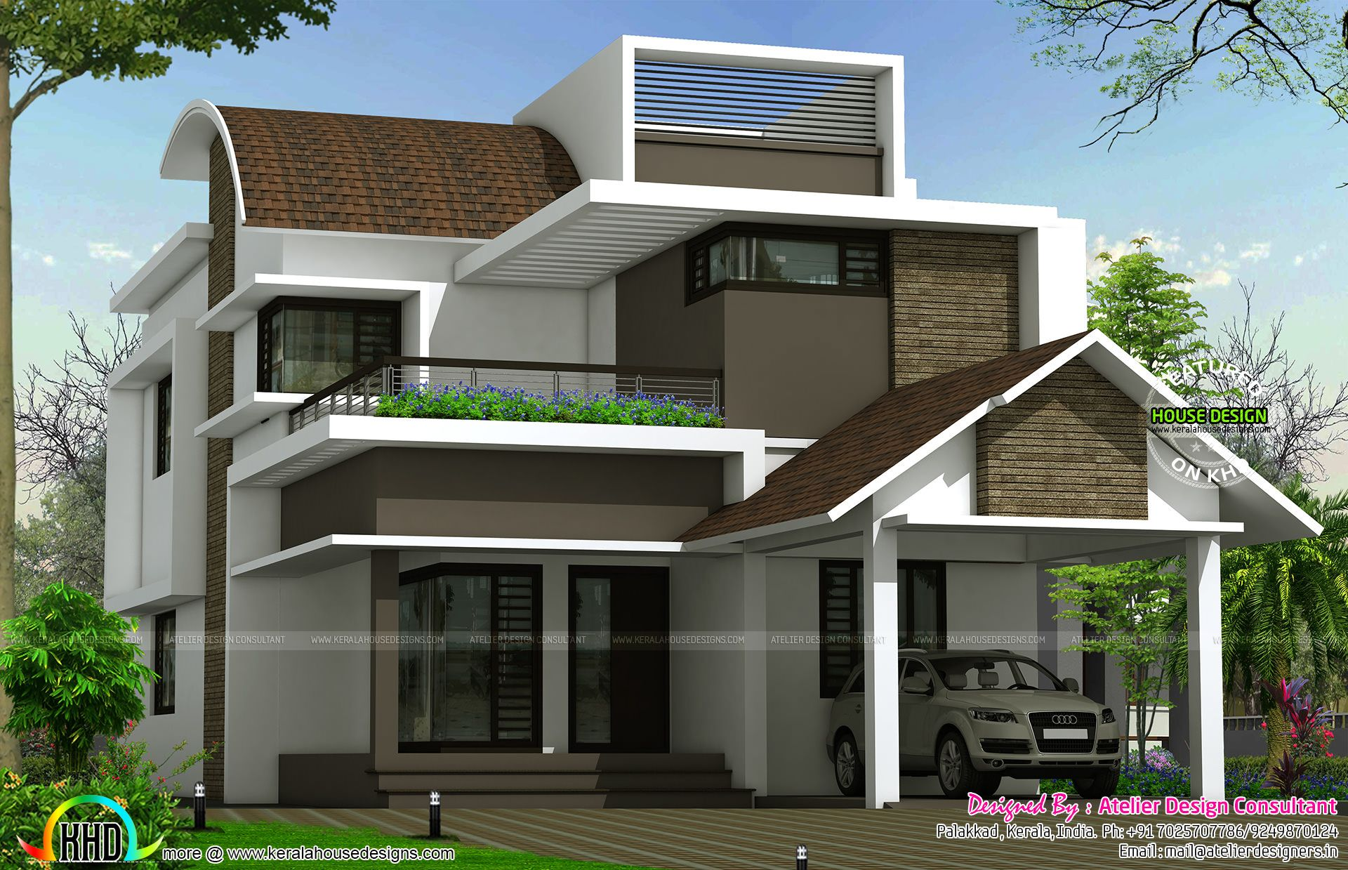 Curved Roof Mix Contemporary 2620 Sq Ft Home Modern House Plans