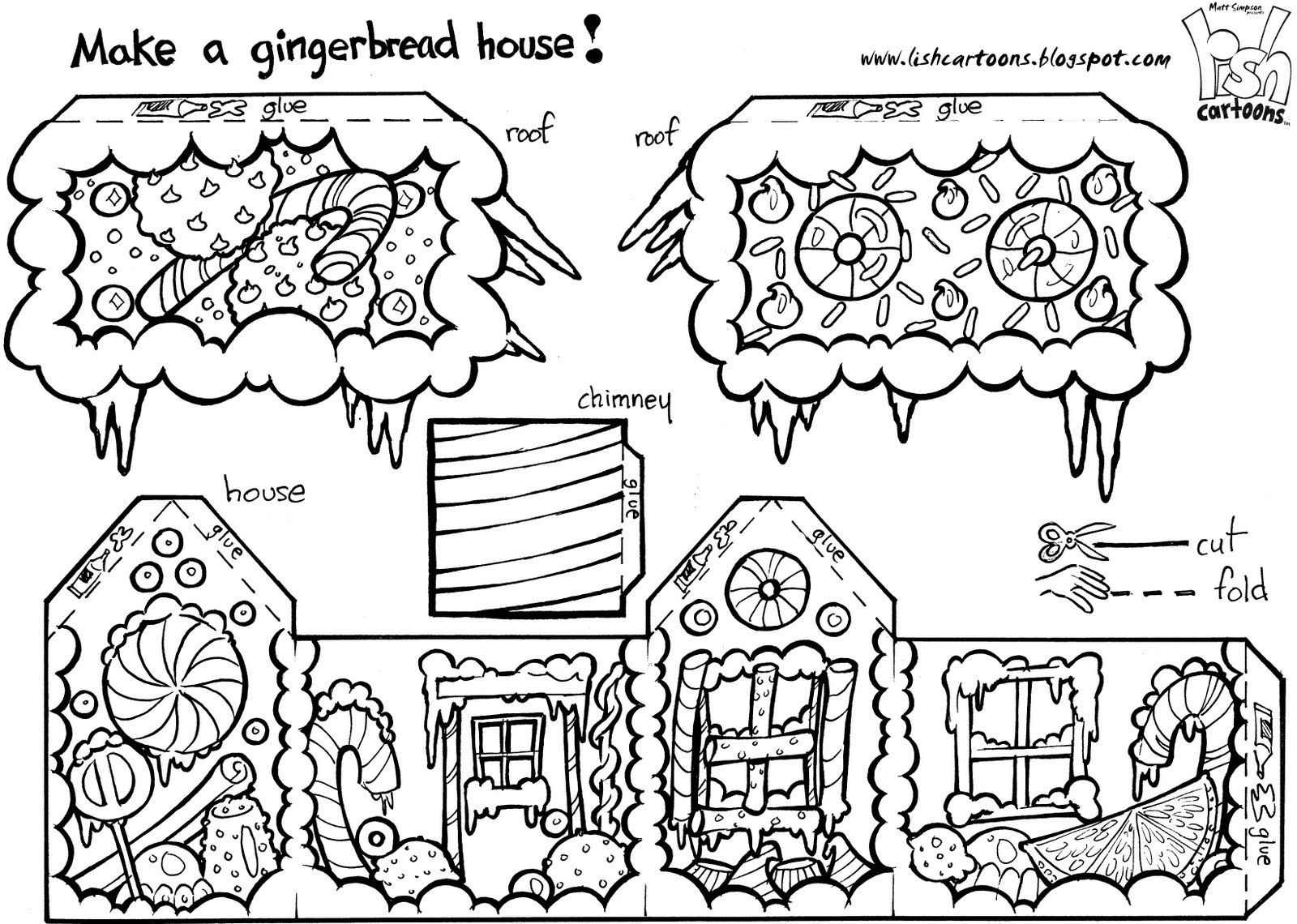 Gingerbread House To Color Cut Out Amp Assemble