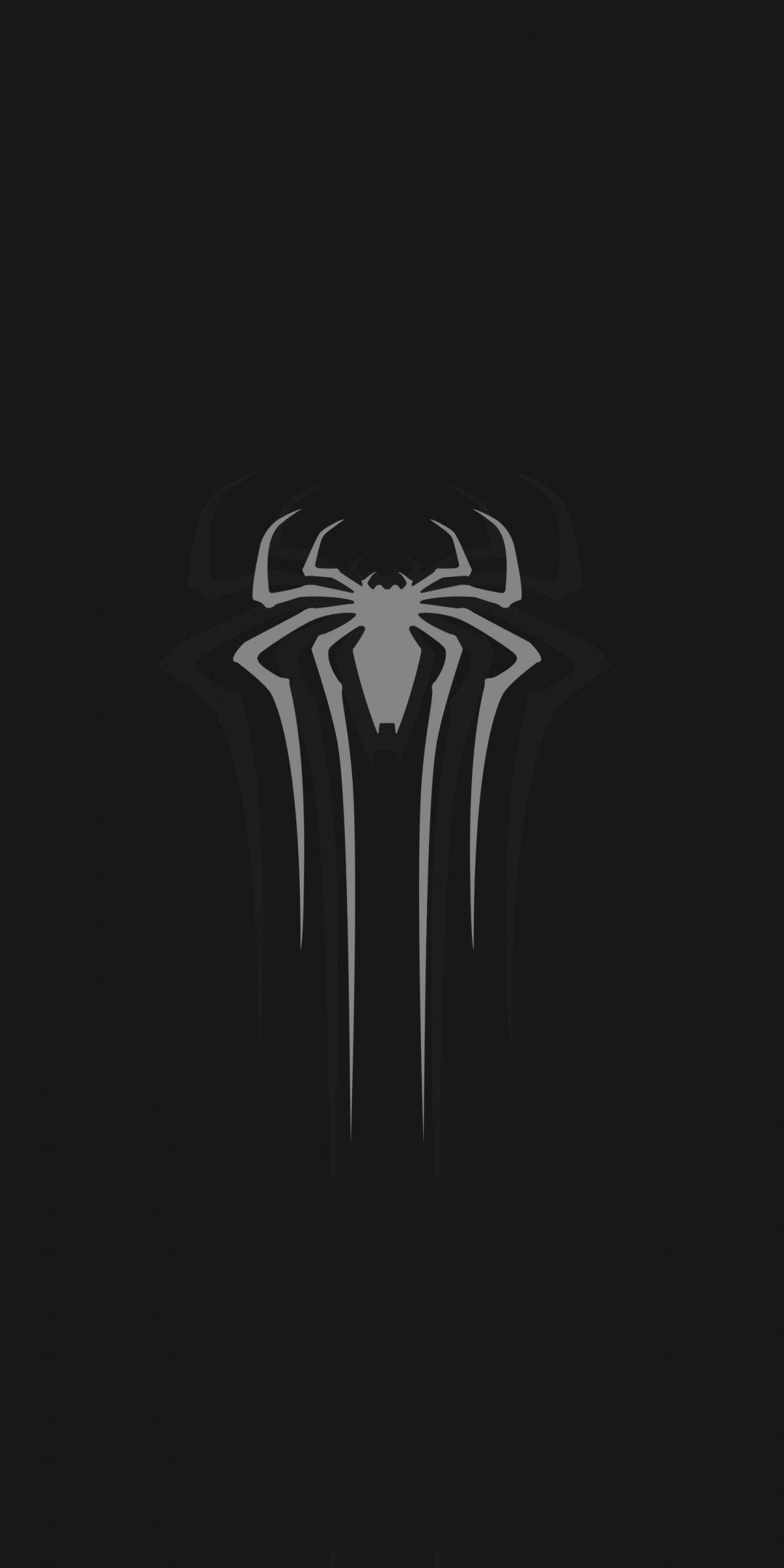 Logo Gray Spider Man Minimal Dark 1080x2160 Wallpaper