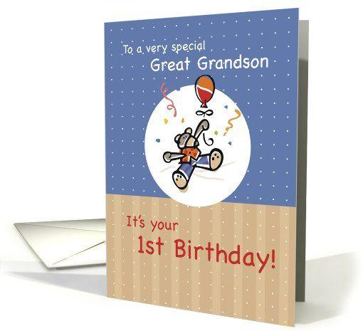 Great Grandson 1st Birthday Card 371447 Grandchildren