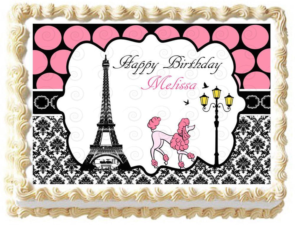 PARIS EIFFEL TOWER POODLE Image Edible Cake topper decoration Cake