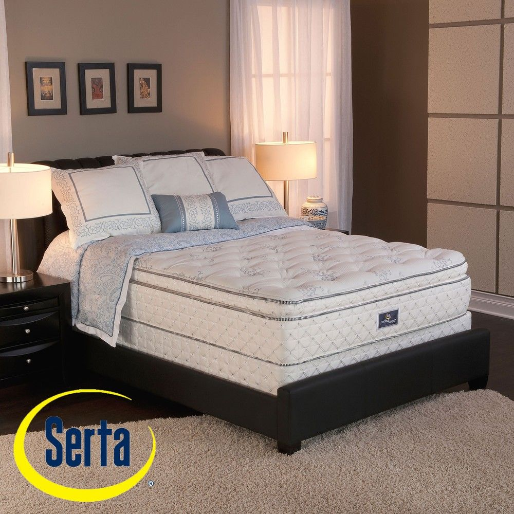 Serta Perfect Sleeper Conviction Super Pillow Top King Size Mattress And Box Spring Set King Size Mattress Mattress Sets Mattress