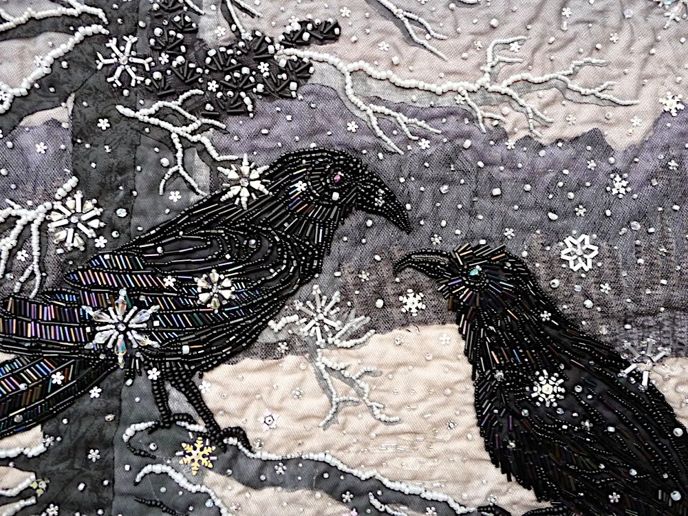 Quilt Beading Thom Atkins  Look close -- those iridescent bugles are just perfect for Ravens shiny feathers.