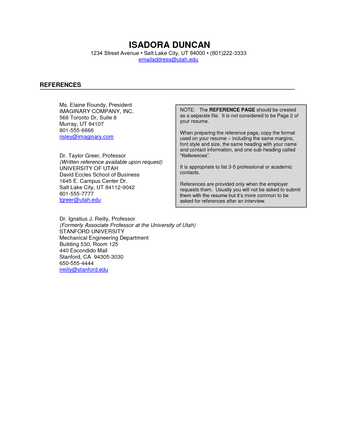 reference page template for resume