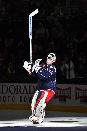 COLUMBUS, OH - MARCH 7: Goaltender Sergei Bobrovsky #72 of the Columbus Blue Jackets salutes the fans after being named the first star of a game against the New Jersey Devils on March 7, 2017 at Nationwide Arena in Columbus, Ohio. Columbus shutout New Jersey 2-0. (Photo by Jamie Sabau/NHLI via Getty Images)