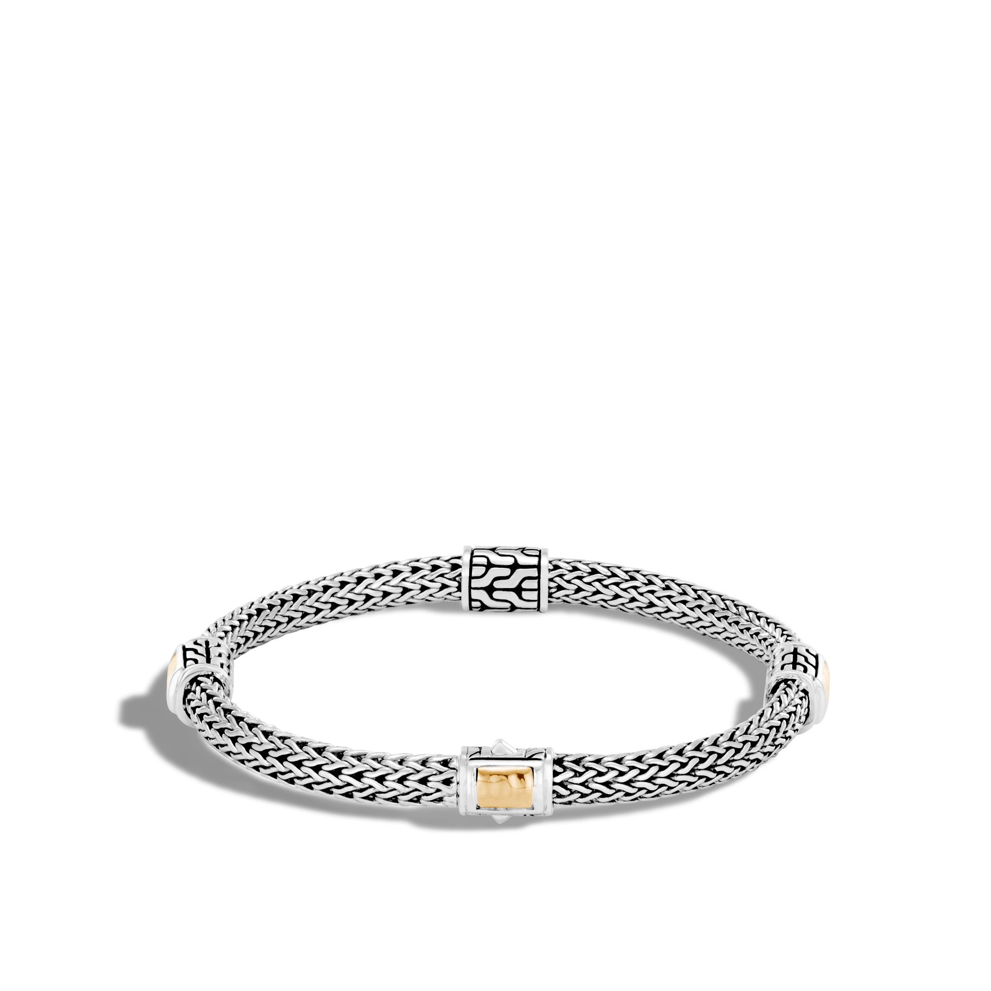 John Hardy Classic Chain Hammered 18K & Silver Bracelet with Diamonds