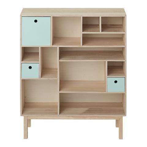 bloomingville biblioth que scandinave bois menthe. Black Bedroom Furniture Sets. Home Design Ideas