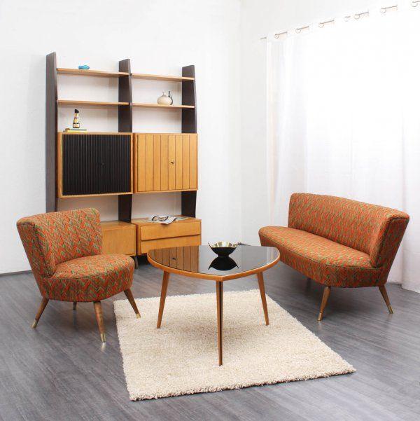 50er Dreibein-Couchtisch, Glasplatte (Nr 4276) 50er Jahre - retro mobel wohnzimmer