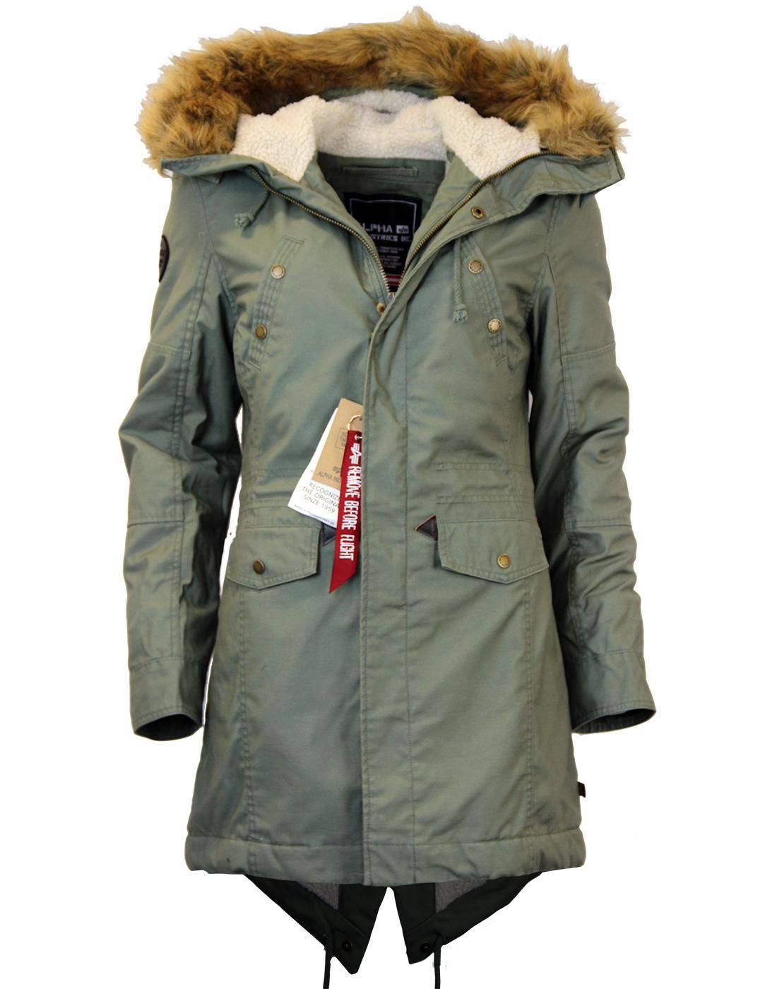 Womens Alpha Industries Hooded Fishtail Parka. Fully lined winter coat with  faux hood trim. - Womens Alpha Industries Hooded Fishtail Parka. Fully Lined Winter