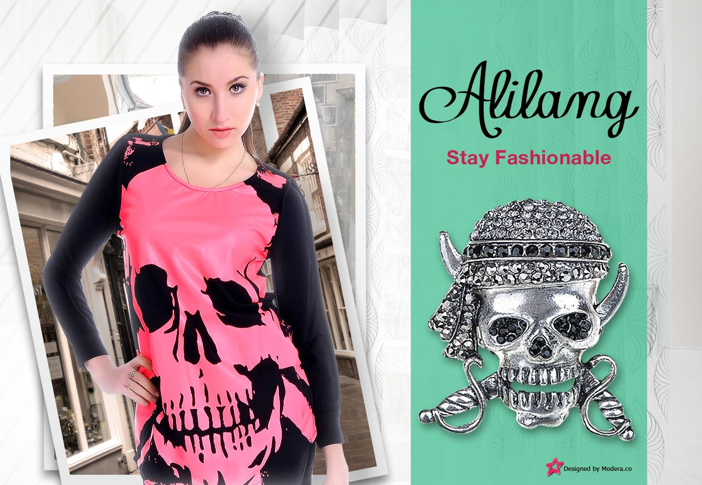 "Are you feeling a bit like a rebel?  Well, let Alilang help you ""bring it"" with style with this skull shirt and brooch.  You can win a gift card up to $250.00 for Alilang just by entering your favorite outfit or picture at www.Modera.co.   http://www.alilang.com/index.php"